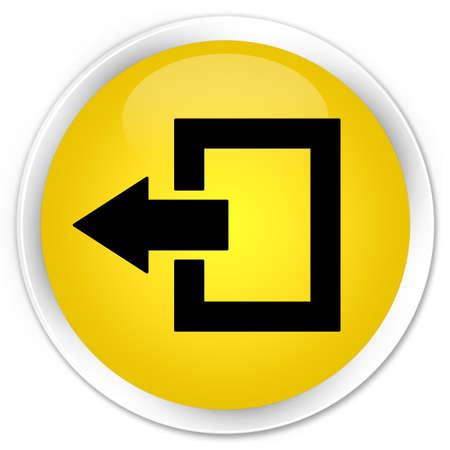 log off: Logout icon yellow glossy round button Stock Photo