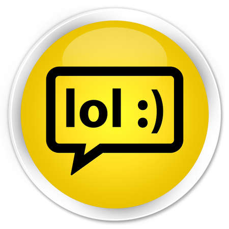 speak out: LOL bubble icon yellow glossy round button Stock Photo