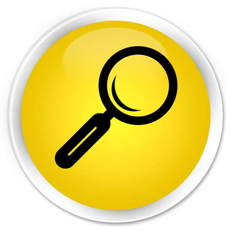 Magnifying glass icon yellow glossy round button photo