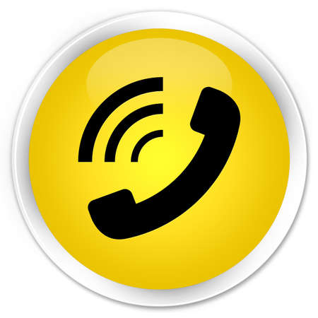 ringing: Phone ringing icon yellow glossy round button