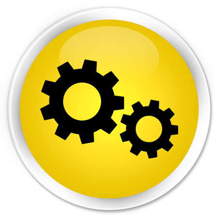preference: Process icon yellow glossy round button