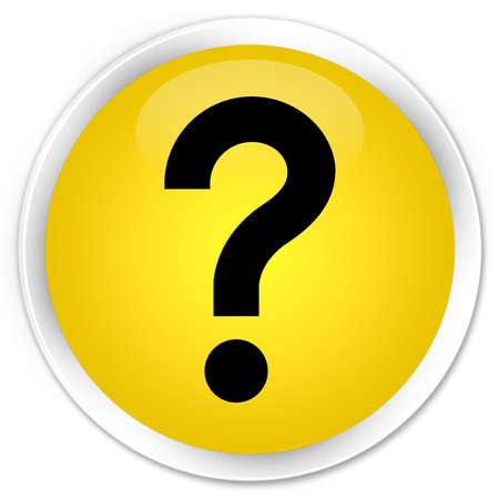 Question mark icon yellow glossy round button
