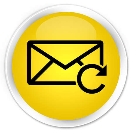 Refresh email icon yellow glossy round button photo