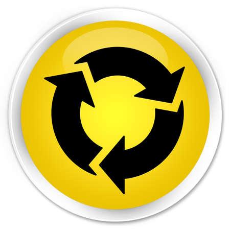 refresh button: Refresh icon yellow glossy round button