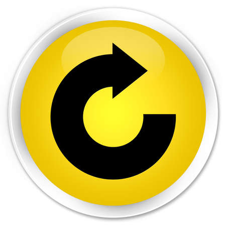 reply: Reply arrow icon yellow glossy round button Stock Photo