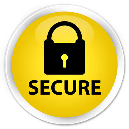 secure: Secure yellow glossy round button