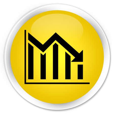 Statistics down icon yellow glossy round button photo