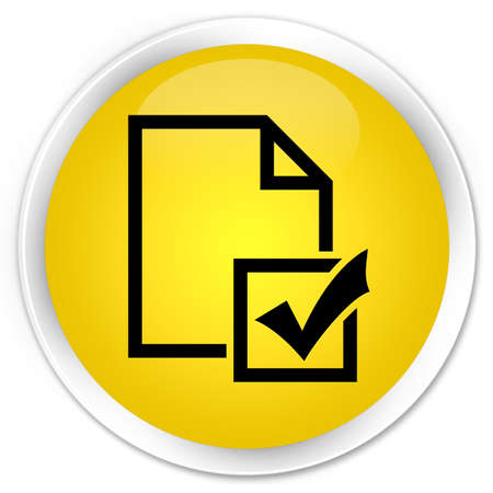 Survey icon yellow glossy round button photo