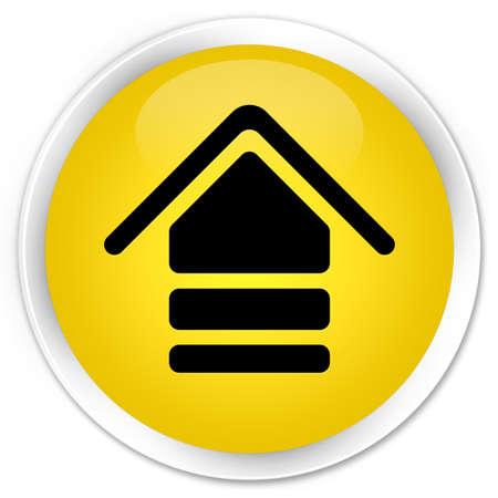 uploading: Upload icon yellow glossy round button