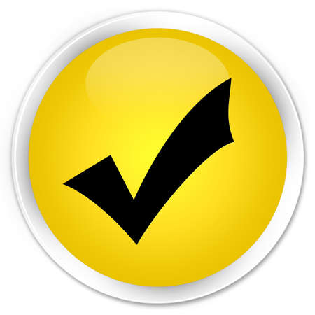 validation: Validation icon yellow glossy round button Stock Photo