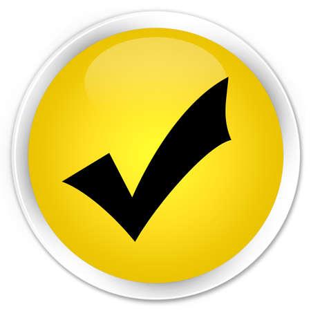 validation: Validation icon yellow glossy round button Stock Photo
