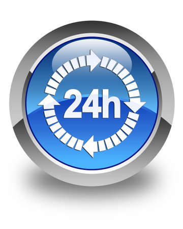 twenty four hours: 24 hours delivery icon glossy blue round button