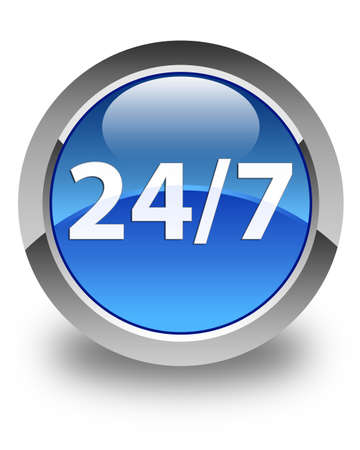 twenty four hours: 247 icon glossy blue round button