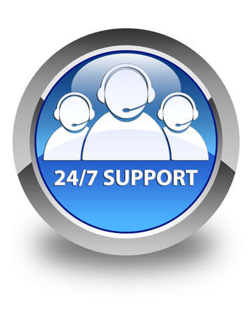 247 support (customer care team icon) glossy blue round button photo