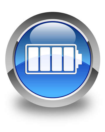 Battery icon glossy blue round button 版權商用圖片