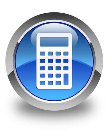 calculus: Calculator icon glossy blue round button Stock Photo