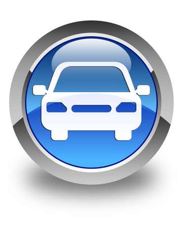 运输: 汽車圖標,藍色光澤的圓形按鈕