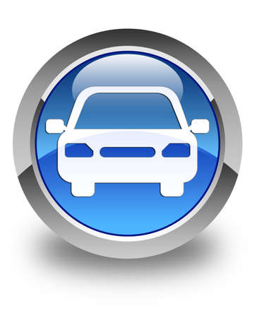 button: Car icon glossy blue round button