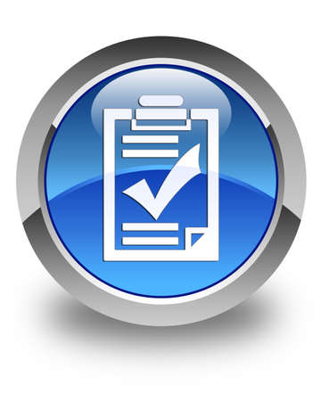 Checklist icon glossy blue round button photo