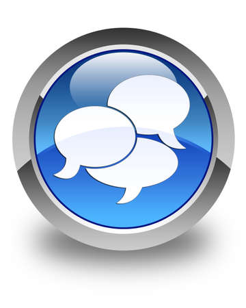 Comments icon glossy blue round button photo
