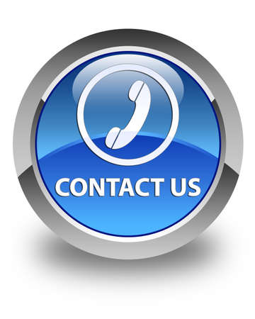 contact us phone: Contact us (phone icon) glossy blue round button Stock Photo