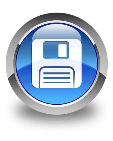 floppy disk: Floppy disk icon glossy blue round button