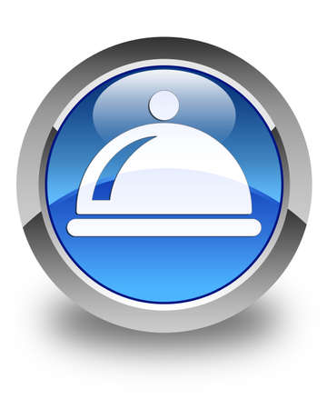 cater: Food dish icon glossy blue round button
