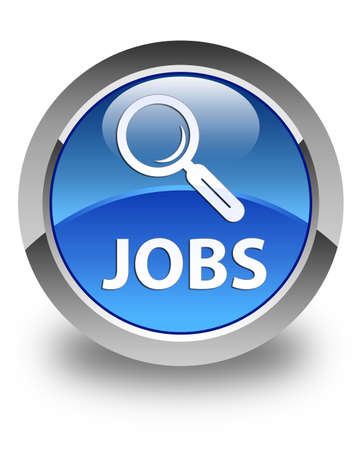 Jobs glossy blue round button photo