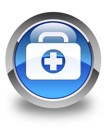 First aid kit icon glossy blue round button photo