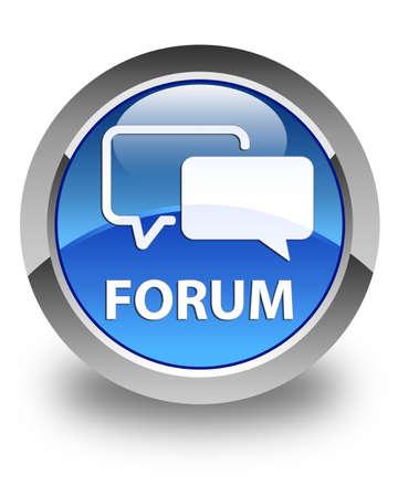Forum glossy blue round button photo