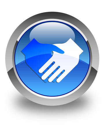 business teamwork: Handshake icon glossy blue round button Stock Photo