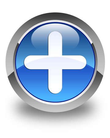Plus icon glossy blue round button Stock Photo