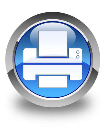 multifunction printer: Printer icon glossy blue round button