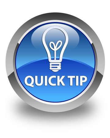 Snelle tip (gloeilamp pictogram) glanzende blauwe ronde knop