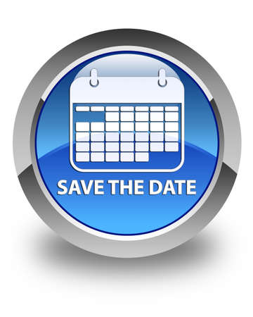 event planner: Save the date glossy blue round button