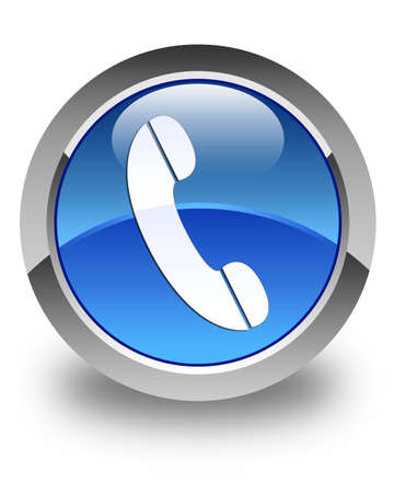 Telefoon pictogram glanzend blauwe ronde knop Stockfoto
