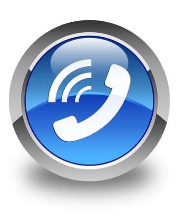 ringing: Phone ringing icon glossy blue round button
