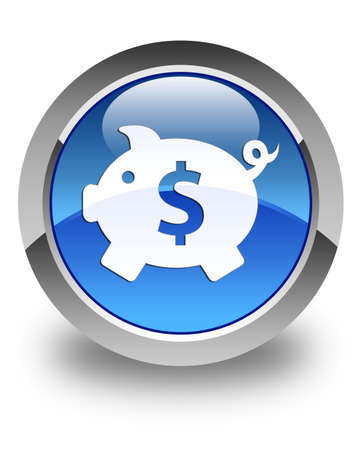 dollar sign icon: Piggy bank (dollar sign) icon glossy blue round button Stock Photo