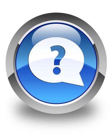 internet mark: Question mark bubble icon glossy blue round button Stock Photo