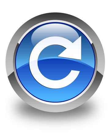 reply: Reply rotate icon glossy blue round button Stock Photo