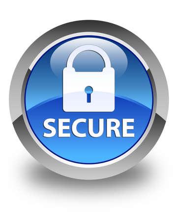 key hole shape: Secure glossy blue round button Stock Photo