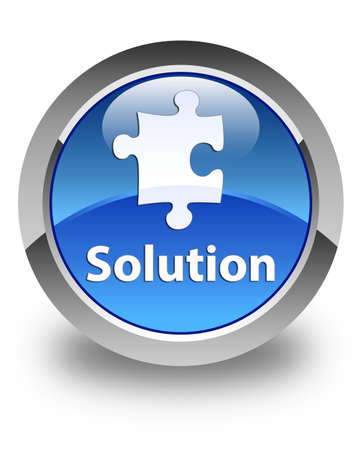 plugin: Solution glossy blue round button Stock Photo
