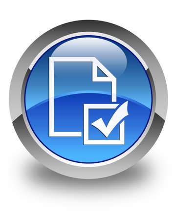 Survey icon glossy blue round button photo
