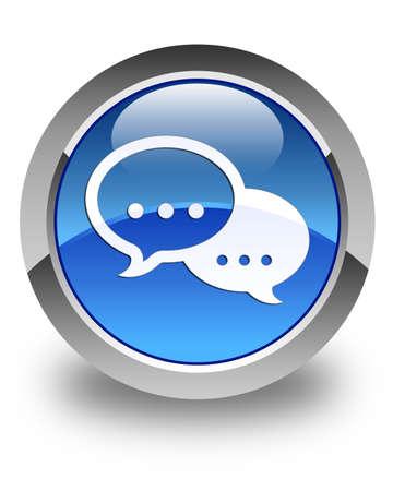 instant message: Talk bubble icon glossy blue round button
