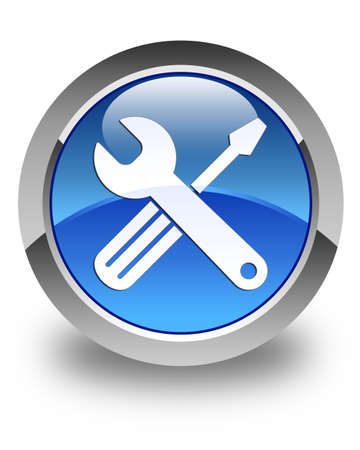 Tools icon glossy blue round button photo