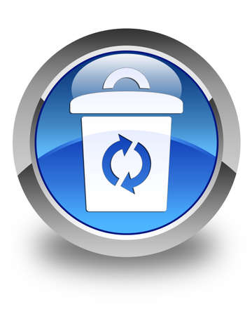 Trash icon glossy blue round button photo