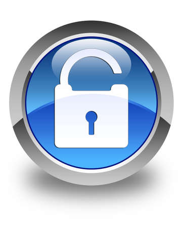 activate: Unlock padlock icon glossy blue round button