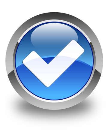valider: Valider glossy icon bouton rond bleu
