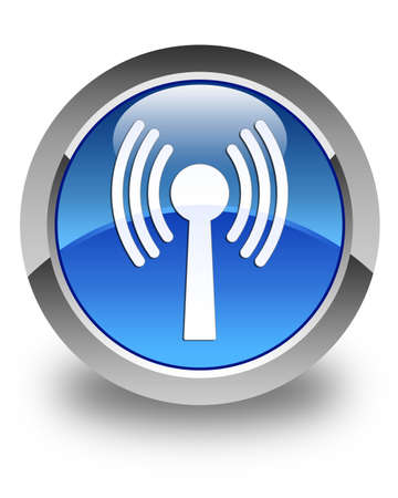 wlan: Wlan network icon glossy blue round button