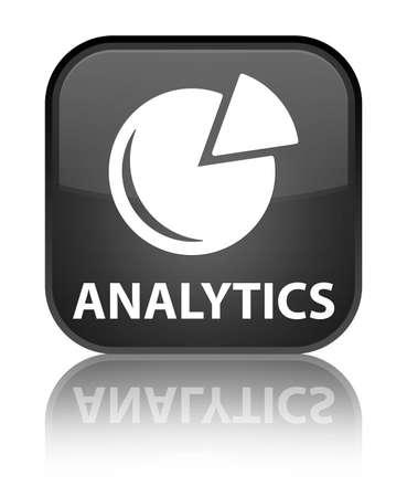 Analytics (graph icon) black square button photo